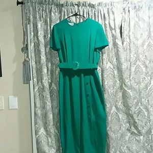 Gillian's green silk midi dress